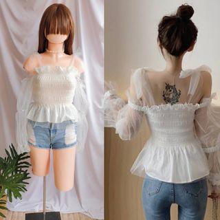 mesh smock tie shoulder lace top