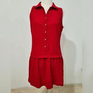 red sleeveless polo dress