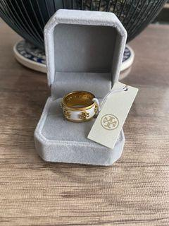 Authentic Tory Burch Gold-Toned White Ring - Size 7 (Left Last Piece!)