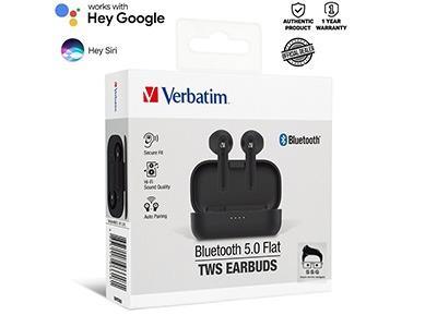 Verbatim True Wireless Stereo Bluetooth 5.0 Flat Earbuds with 1yr Local Warranty