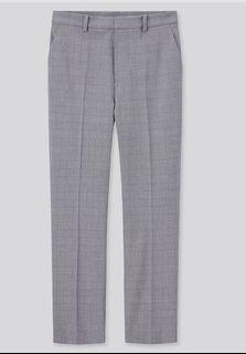 彈性灰色格紋西裝褲