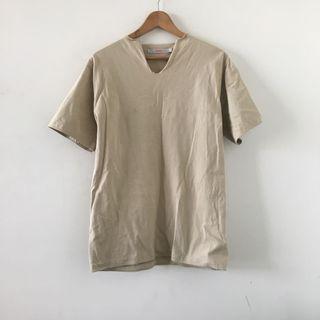 日本品牌 | beams | 日本製 簡約 自然 米綠 v領 不修邊 棉質 純棉 素色 短袖上衣 短T 棉T 素T