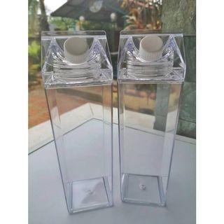 Acrylic Transparent Milk Carton Water Bottle Tumbler with Free Cleaner Brush
