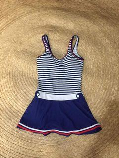 Bathing suit sailor style with skirt