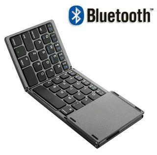 Keyboard Folding Wireless Bluetooth Slim Mini Compact Portable With Mouse Pad Support PC, Windows, Mac, Android, IOS.