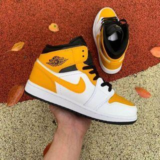 Nike Air Jordan 1 Mid Shoes AJ1 554725-170 Women Size EUR36-39 White/Yellow