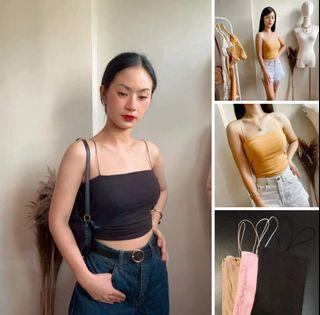 """Paubos Sale! 3 colors 👕 Double Lined String Bandeau Top (FS: Stretch, fits S - M frame/best fit up to 27"""" waistline) Colors: Black/Pink/Nude"""