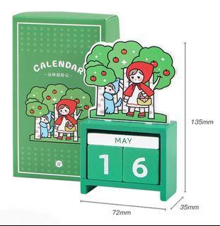 Red Riding Hood Wooden Calendar c/w Gift Box