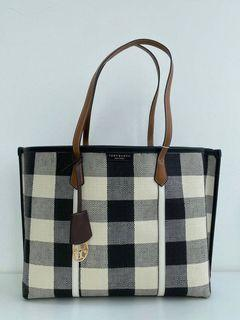 Tory Burch Perry Gingham Triple Compartment Tote Bag