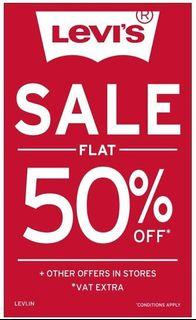 50% OFF on all original posted Levi's jeans