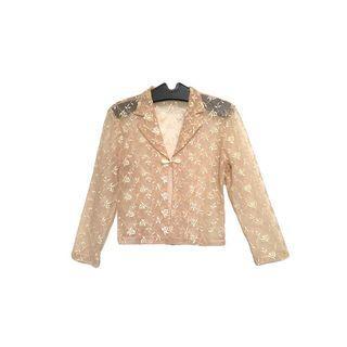 ·新裝裏百貨行· 90s 淡粉色 緹花盤扣 透膚罩衫