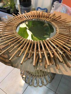 Boho Rattan Wall Mirror