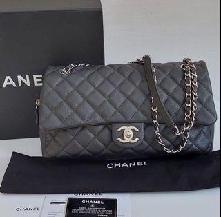 Chanel Jumbo easy flap cav black shw#20 fullset with rec  32x6x12cm