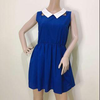 Size S Blue Casual Dress with Collar