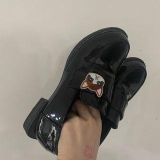 可愛貓貓皮鞋 黑色