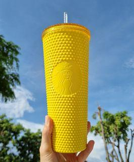🆕 Starbucks Taiwan Limited Edition Bright Yellow Studded Cold Cup