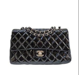 Chanel  medium df in black patent shw#12 comes with entrupy holo and broken holo half number chopped