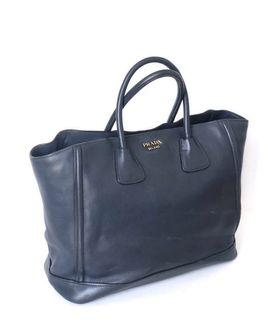 Prada Tote navy leather with card 35x28cm