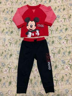 Preloved Mickey Mouse set long sleeves jogging pants