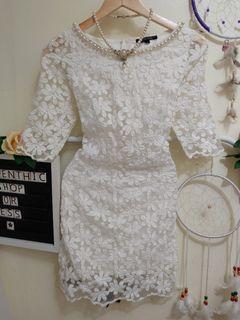 White Lace Floral Dress