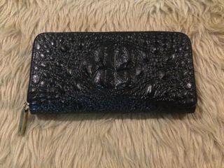 Black Crocodile Zippered Wallet