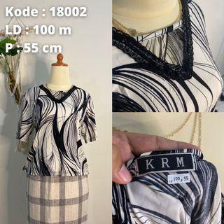 Blouse Stripe Monochrome Big Size Hitam Putih