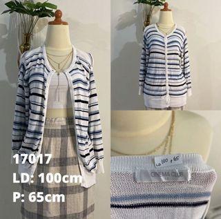 Blue Stripes Cardigan Biru Putih Bersih Cantik Banget