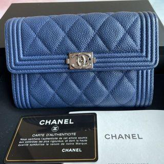 Chanel 藍色銀扣boy 雙層中夾