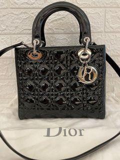 Dior 黑色漆皮五格黛妃包
