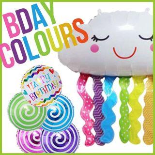 Happy Birthday Colours Cloud Fringes Swirl Chevron Foil Balloons Party Needs