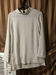H&M dotted drape long sleeve top