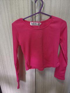 Hot pink long sleeve crop top