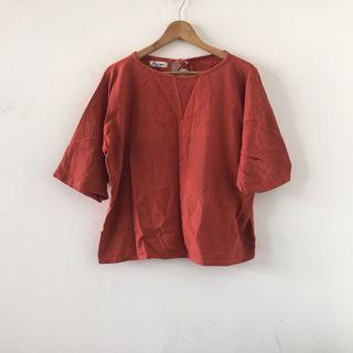 連線賣家購入 | 泰國 簡約 棉麻 橘紅 素色 寬鬆 綁帶 微短板 短袖 上衣 韓