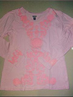 [FREE ONGKIR] Kaos lengan panjang pink bordir bunga merk Super T