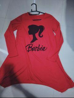[FREE ONGKIR] Mididress Tunik merah hijab barbie