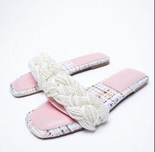 ZARA Pearl Tweed Flat Sandals