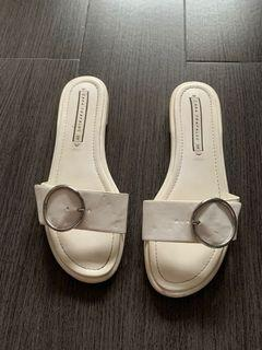 Zara white rubber sandals