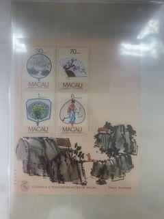 1987 澳門扇畫小全張 (編號14941), VF.  發行量僅 2.5萬枚