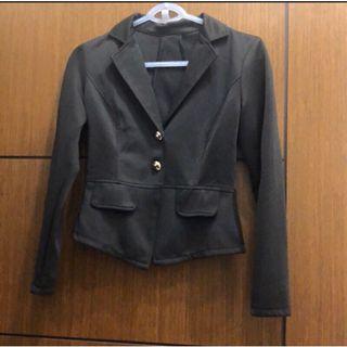 修身彈性蕾絲外套 西裝外套(背面有造型)