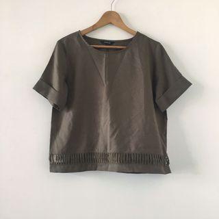 日本品牌 | Sureve | 近全新 質感 簡約 軍綠 綠色 鏤空 設計 厚雪紡 素色 短袖 上衣 日貨 日牌