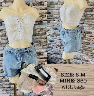 Auth💯 PRETTY LITTLE THING Broidered Lace Up Bandeau CROP TOP