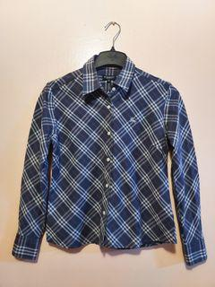 Authentic Burberry Blue Ladies Long Sleeves Polo