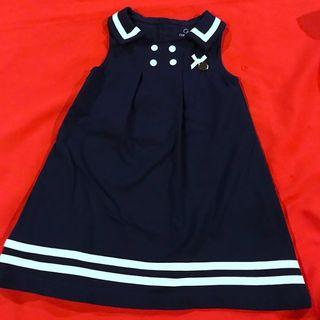 Chickeeduck Blue and White high quality pretty dress 18 -24 months