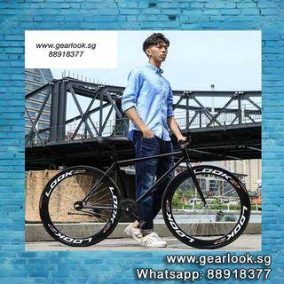 """FREE ASSEMBLY / FREE DELIVERY INSTOCKS Fixie black rim bicycle Road bicycle 26"""" for food delivery rear rack Single speed mountain road cycle [1-3 Days Delivery].*SELLING FAST*.*GRAB IT NOW*.💥Whatapp us at 88918377💥"""