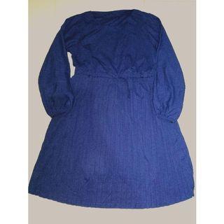 [FREE ONGKIR] Mididress Tunik Hijab wanita biru tua dongker rumbai [NEW]