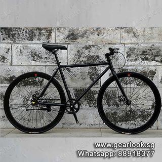 """INSTOCKS FREE ASSEMBLY / DELIVERY Bicycle Disc brake Single Speed Road bicycle 26"""" Black Frame & Black Rim Fixie With Black Tyre Disc  Bicycle [1-3 Days Delivery] Add shimano 7 speed💥Whatapp us at 88918377💥"""
