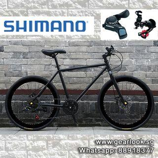 """INSTOCKS Shimano 7 Speed Gear Road Bicycle For Food delivery black rim bicycle Road bicycle 26"""" Disc brakes for food delivery rear rack Thermal Bag Hybrid Bike mountain road cycle [1-3 Days FREE Delivery] 💥Whatapp us at 88918377💥"""