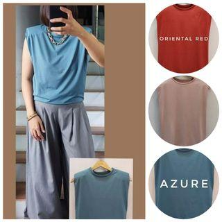 New! Onhand 🎽 Pia Muscle Padded Tee (FS: Stretch, loose style, fits S - L frame) 3 colors: Azure/Oriental Red/Blush