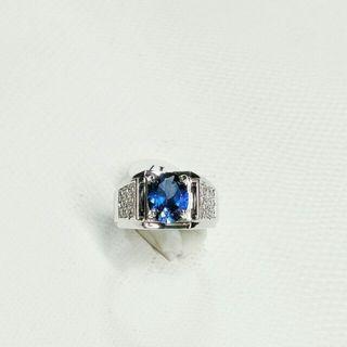 s925純銀製半寶石藍剛玉鑽男戒  擬真藍寶石戒指  🤑:1500元。    🚚:80元