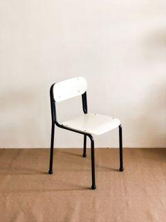 Sekisui Interiors Chair 05 Solid Wood Metal Frame White and Black School Style Vintage Modern Bentwood Chair